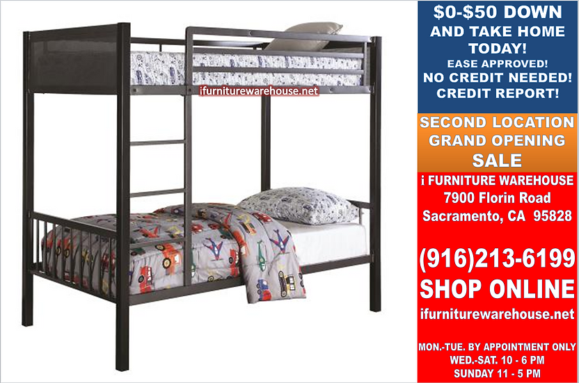 IN STOCK NEW_BLACK/GUNMETAL TWIN/TWIN BUNK BED ONLY.