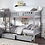 Thumbnail: IN STOCK NEW_4 TWIN BED, GRAY CORNER BUNK BED WITH DRAWERS.