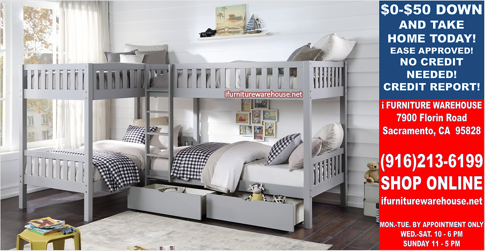 IN STOCK NEW_4 TWIN BED, GRAY CORNER BUNK BED WITH DRAWERS.