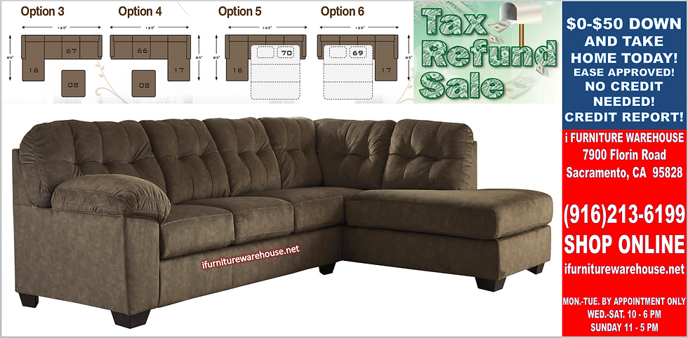 IN STOCK NEW_2PC  BROWN MICROFIBER RIGHT SECTIONAL SOFA SLEEPER.
