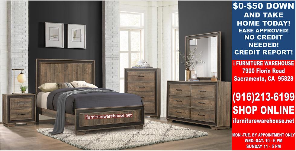IN STOCK NEW_MORDERN RUSTIC 2-TONE FULL BED, DRESSER, MIRROR, NIGHTSTAND.