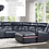 Thumbnail: IN STOCK NEW_6-PIECES DARK NAVY BLUE RAF CHAISE 3 RECLINING SECTIONAL SOFA