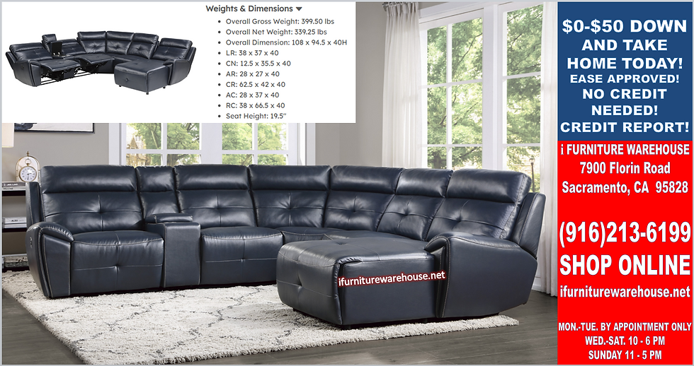 IN STOCK NEW_6-PIECES DARK NAVY BLUE RAF CHAISE 3 RECLINING SECTIONAL SOFA