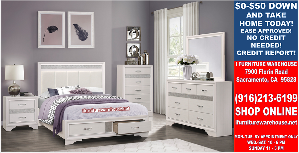 IN STOCK NEW_WHITE JEWELRY DRAWERS QUEEN BED, DRESSER, MIRROR, NIGHTSTAND.