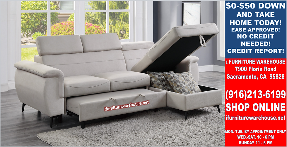 IN STOCK NEW_2PCS BEIGE MICROFIBER SECTIONAL SOFA SLEEPER PULL-OUT BED
