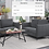 Thumbnail: IN STOCK NEW_2PCS  DARK GRAY SOFA AND LOVESEAT STATIONARY COUCH