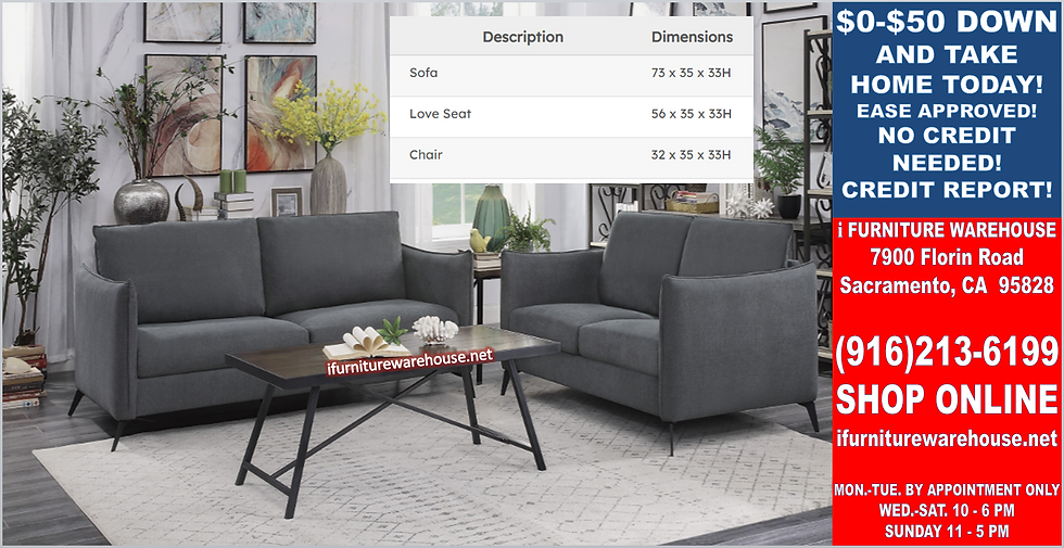 IN STOCK NEW_2PCS  DARK GRAY SOFA AND LOVESEAT STATIONARY COUCH