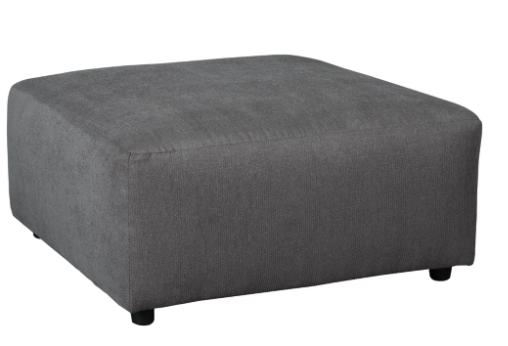"IN STOCK NEW_40"" W x 40"" D x 20"" H OTTOMAN IN GRAY FABRIC."