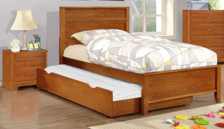 Solid Wood Twin Platform Bed w/ Twin Trundle and Nightstand