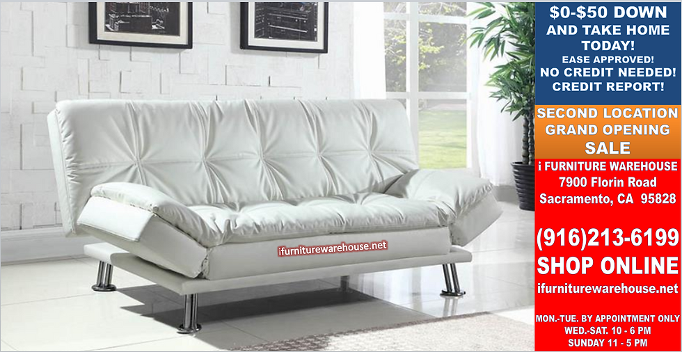 IN STOCK NEW_CONTEMPORARY WHITE SOFA BED, FUTON, SLEEPER.