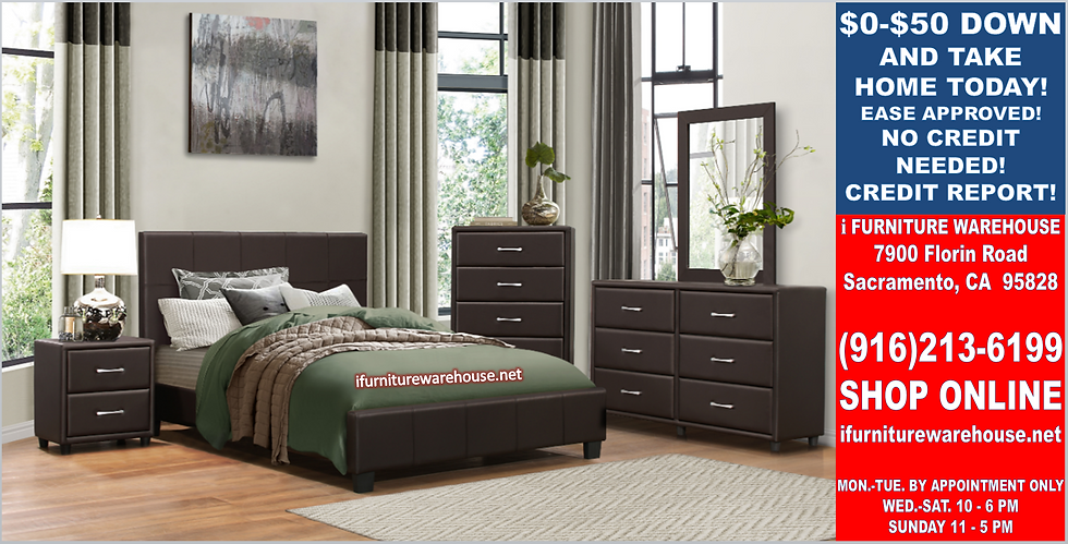 IN STOCK 4PCS BROWN PLATFORM FULL BED, DRESSER, MIRROR, NIGHTSTAND.