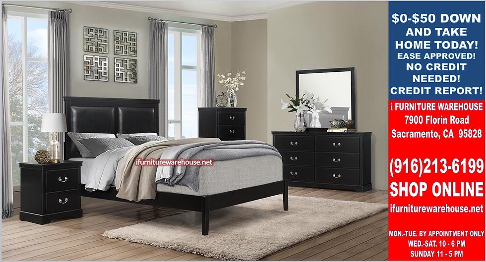 IN STOCK 4PCS BLACK PANEL FULL BED, DRESSER, MIRROR, NIGHTSTAND.