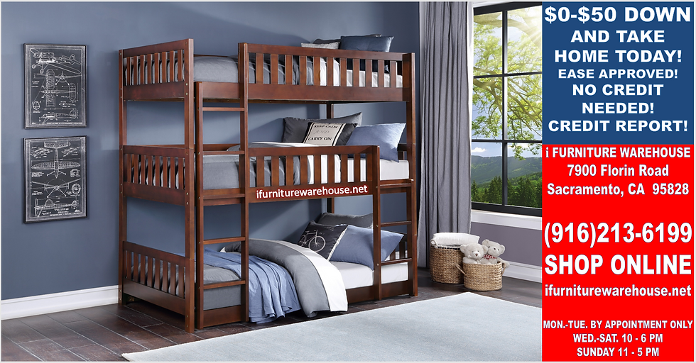 IN STOCK NEW_TWIN BED, TWIN CHERRY TRIPLE BUNK BED ONLY.