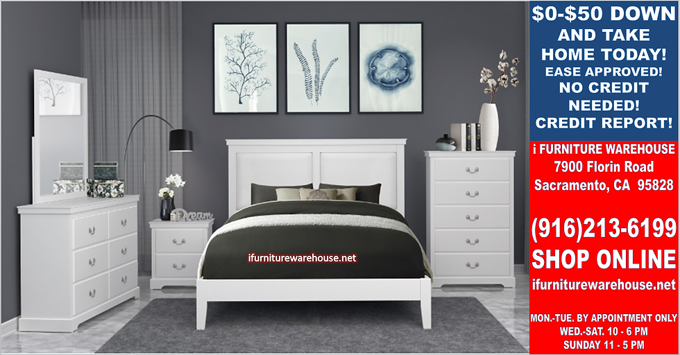 IN STOCK 4PCS WHITE PANEL QUEEN BED, DRESSER, MIRROR, NIGHTSTAND