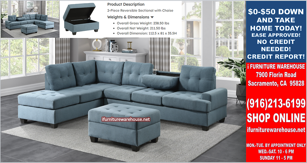 IN STOCK NEW_2PCS. BLUE FABRIC CUP HOLDER REVERS. SECTIONAL SOFA ONLY.