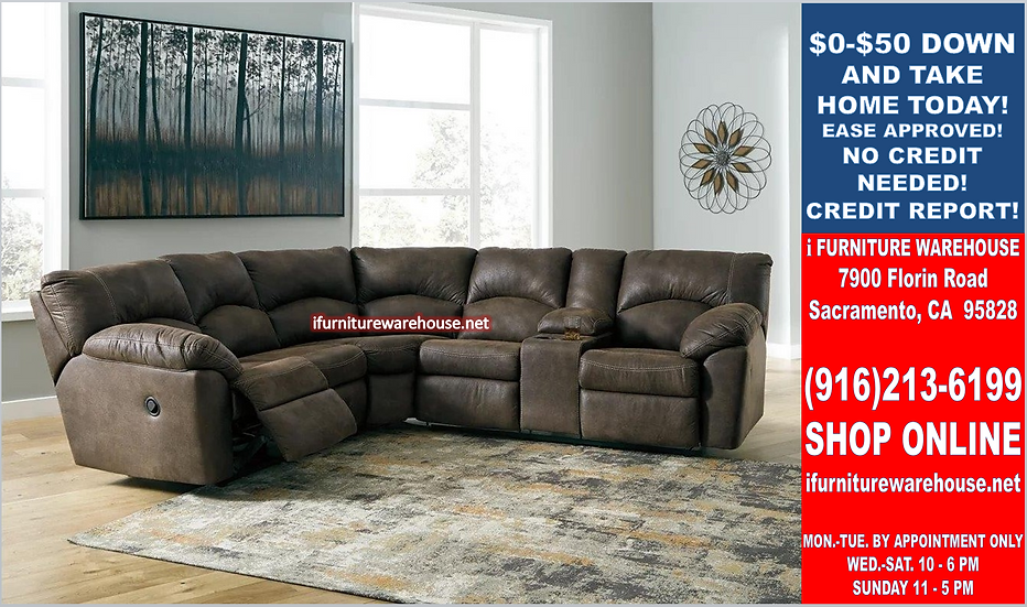 IN STOCK NEW_2PCS. BROWN MICRO. 2 END RECLINER WITH CUP HOLDER SECTIONAL SOFA.
