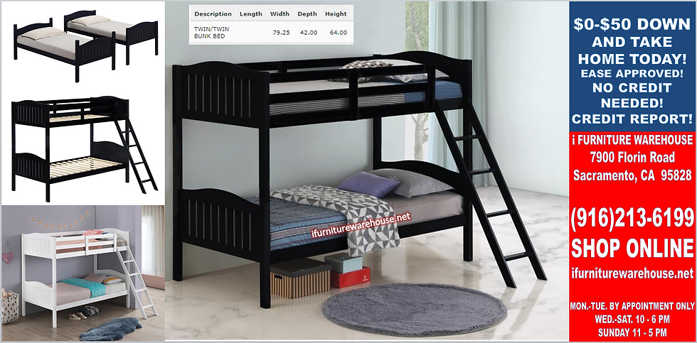 IN STOCK NEW_WOOD BLACK TWIN/TWIN YOUTH BUNK BED ONLY.