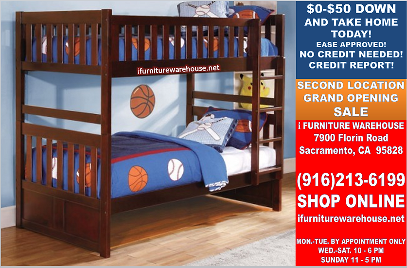 IN STOCK NEW_TWIN/TWIN BUNK BED IN CHERRY FINISH.
