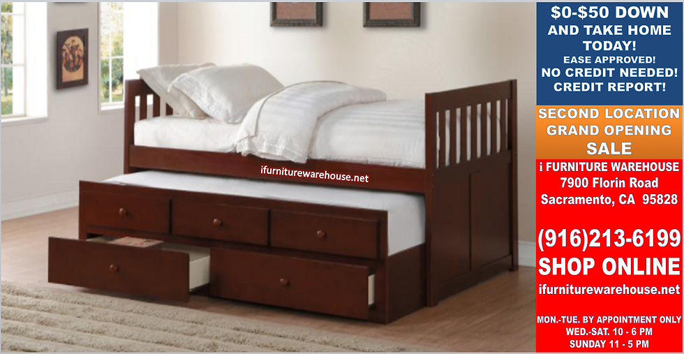 In Stock_New Cherry_Twin/Twin Trundle Bed /w Two Storage Drawers. Daybed.