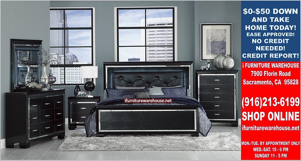 IN STOCK 4PCS BLACK LED HEADBOARD QUEEN BED, DRESSER, MIRROR, NIGHTSTAND.