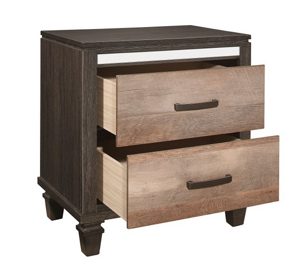 IN STOCK NEW_CAPPUCCINO AND BROWN 2 TONE LOOK WITH ANTIQUED BRASS NIGHTSTAND.