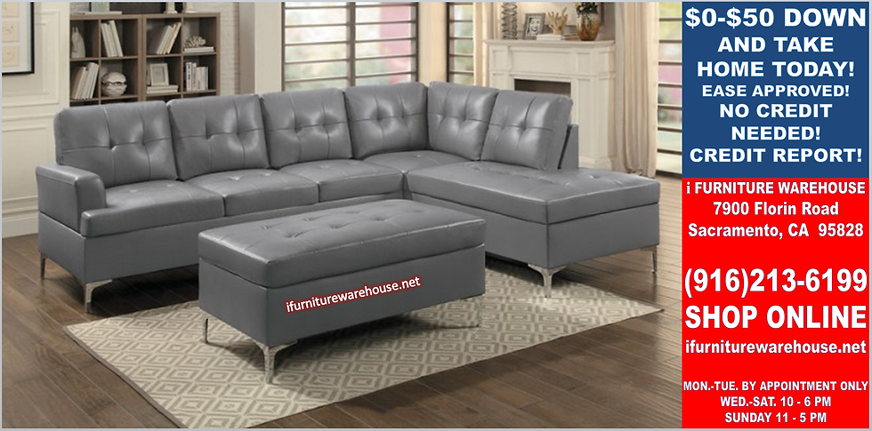 IN STOCK NEW_2PCS GRAY SECTIONAL SOFA/ OTTOMAN NOT INCLUDED