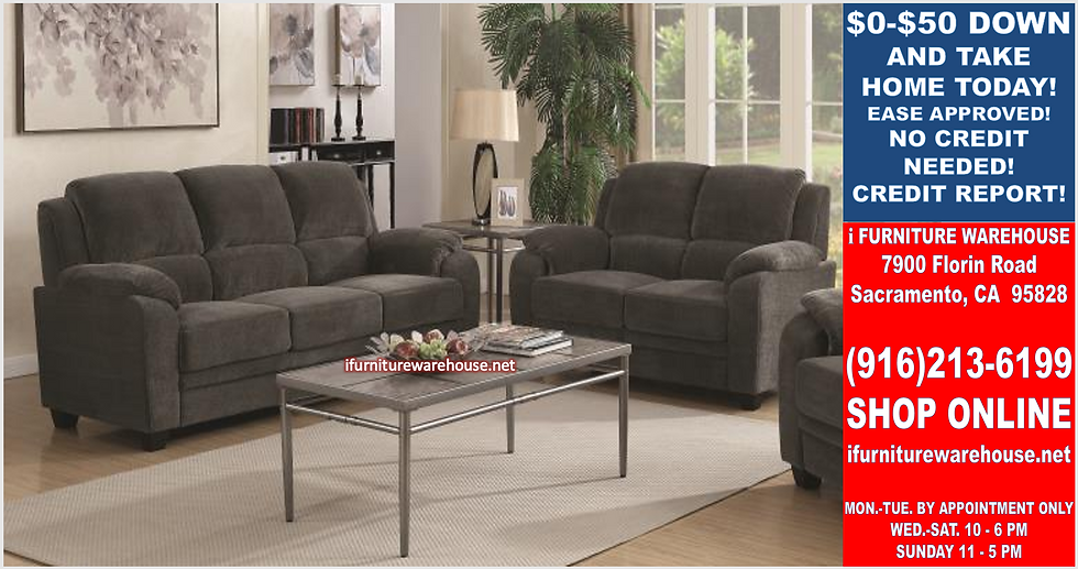 IN STOCK NEW_2PCS CHARCOAL 100% POLYESTER SOFA AND LOVESEAT