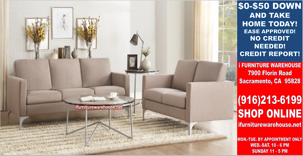 IN STOCK NEW_2PCS RETRO BROWNISH GRAY FABRIC SOFA AND LOVESEAT LIVING ROOM SET