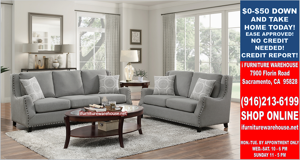 IN STOCK NEW_2PCS TRADITIONAL NAILHEAD TRIM GRAY SOFA AND LOVESEAT.