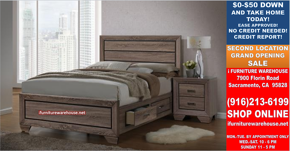 IN STOCK NEW_QUEEN BED,WASHED TAUPE PLATFORM BED W/ DRAWERS NO BOX NEEDED