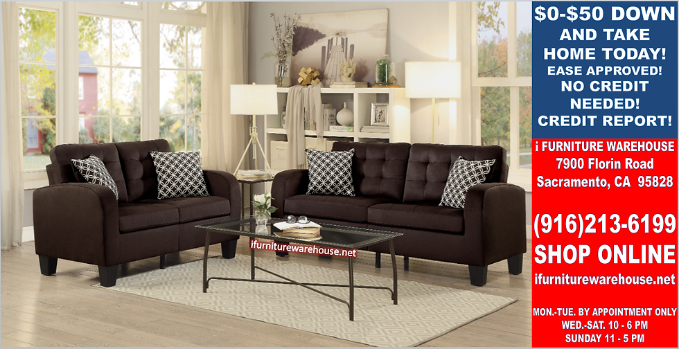 IN STOCK NEW_2PCS.  CHOCOLATE SOFA AND LOVESEAT STATIONARY COUCH