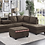 Thumbnail: IN STOCK NEW_2PCS. CHOCOLATE CUP HOLDER REVERSIBLE CHAISE SECTIONAL SOFA.