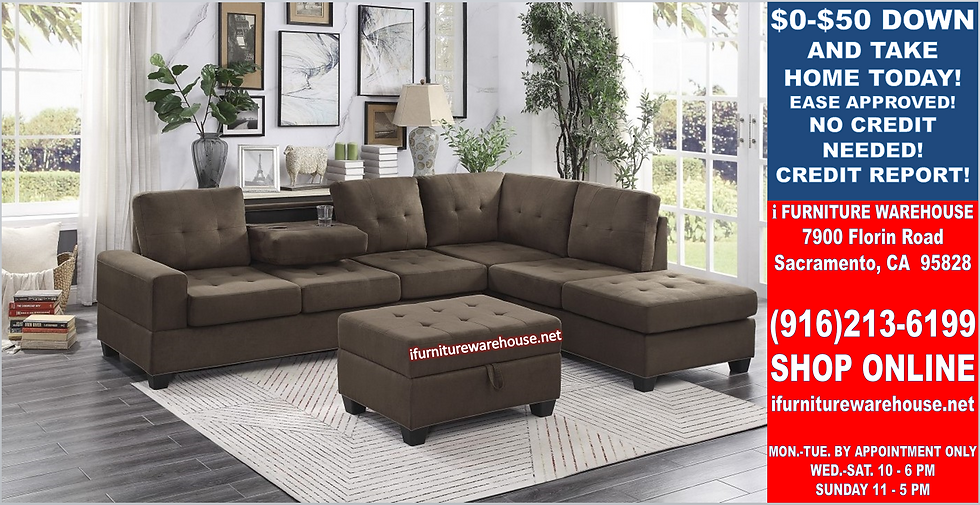 IN STOCK NEW_2PCS. CHOCOLATE CUP HOLDER REVERSIBLE CHAISE SECTIONAL SOFA.