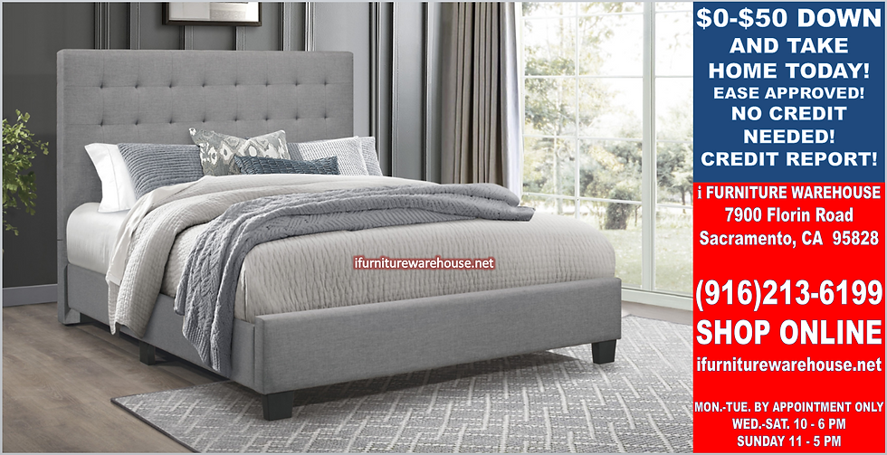 IN STOCK NEW_TUFTED GRAY LINEN FABRIC QUEEN BED ONLY.  BOX SPRING REQUIRED