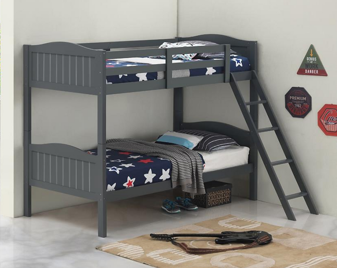 IN STOCK NEW_WOOD GRAY TWIN/TWIN YOUTH BUNK BED ONLY.