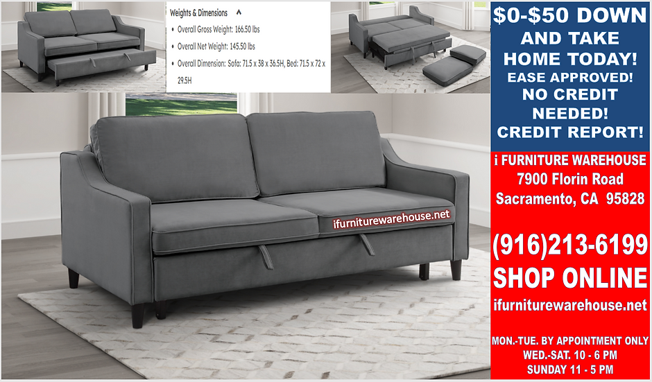 IN STOCK NEW_CONVERTIBLE STUDIO SOFA WITH FULL-OUT SOFA BED SLEEPER.
