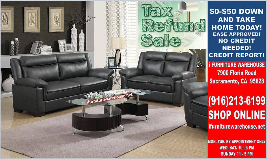 IN STOCK NEW_2PCS CONTEMPO UPHOLSTERED GREY SOFA AND LOVESEAT.