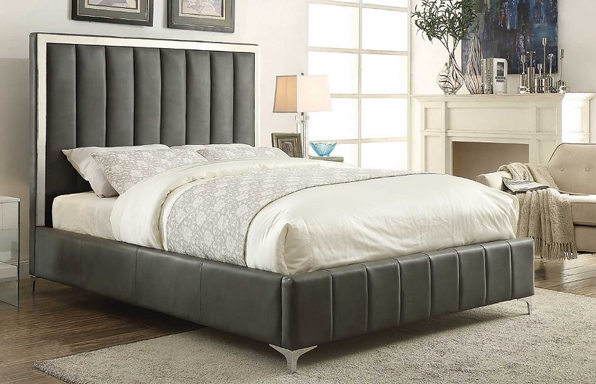 IN STOCK GREY FAUX LEATHER UPHOLSTERED FULL BED ONLY/  BOX SPRING REQUIRED