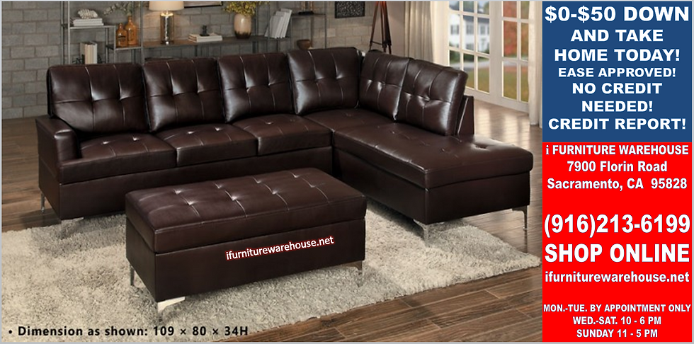 IN STOCK NEW_2PCS BROWN SECTIONAL SOFA/ OTTOMAN NOT INCLUDED