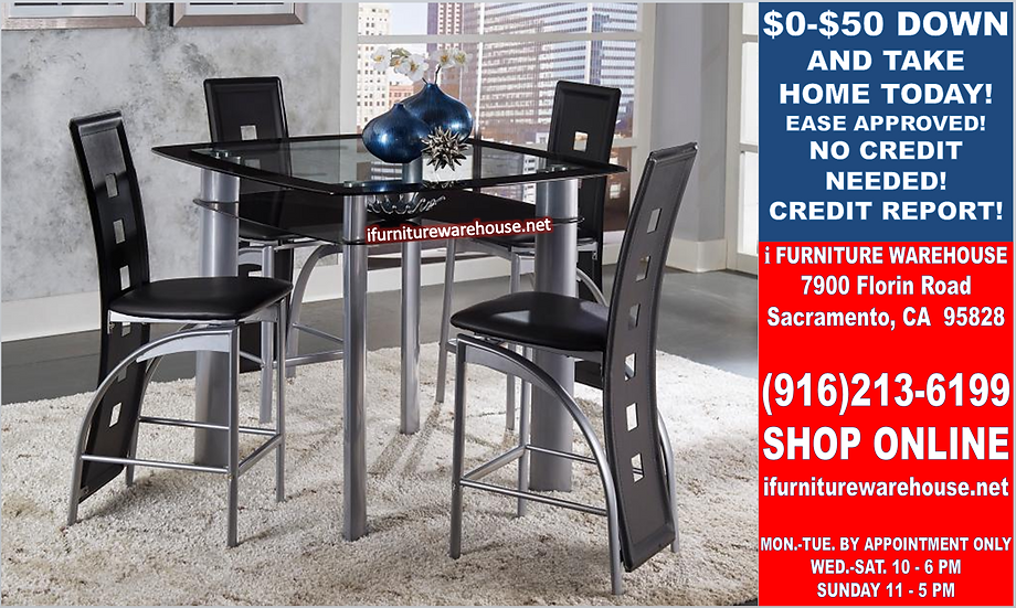 IN STOCK NEW_GLASS SQUARE COUNTER HEIGHT DINING TABLE AND 4 CHAIRS ALL