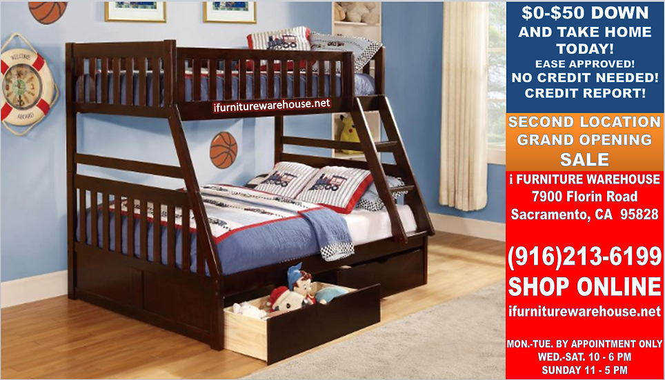 IN STOCK NEW_CHERRY SOLID WOOD TWIN/FULL BUNK BED WITH TWO DRAWERS.