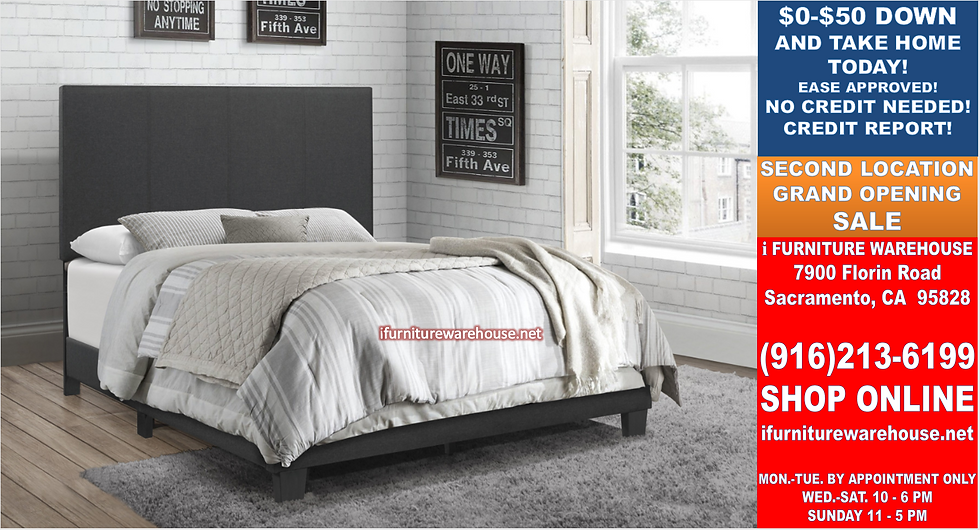 IN STOCK NEW_BLACK LINEN FABRIC QUEEN BED ONLY.  BOX SPRING REQUIRED