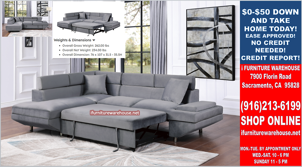 IN STOCK NEW_2PCS ADJUSTABLE HEADREST GRAY VELVET SECTIONAL SOFA PULL-OUT BED.