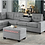 Thumbnail: IN STOCK NEW_2PCS. GRAY CUP HOLDER REVERSIBLE CHAISE SECTIONAL SOFA.