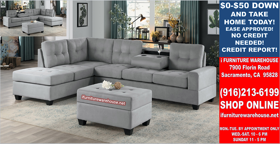 IN STOCK NEW_2PCS. GRAY CUP HOLDER REVERSIBLE CHAISE SECTIONAL SOFA.
