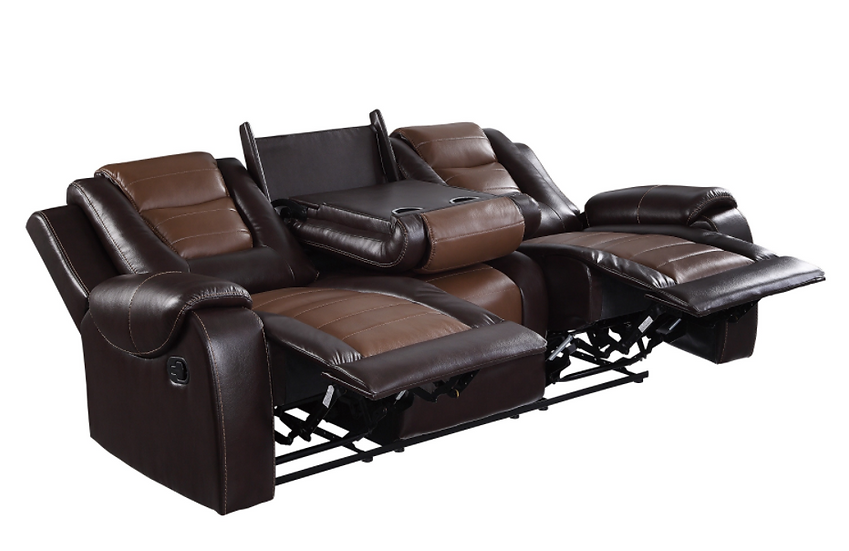 IN STOCK NEW_ 2-TONE BROWN PREMIUM FAUX LEATHER DROP-CUP HOLDER RECLINING SOFA