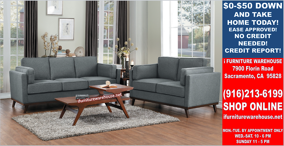 IN STOCK NEW_2PCS  MID-CENTURY MODERN GRAY SOFA AND LOVESEAT STATIONARY COUCH
