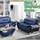 Thumbnail: IN STOCK NEW_2PCS CONTEMPO BLUE/BLACK SOFA AND LOVESEAT.