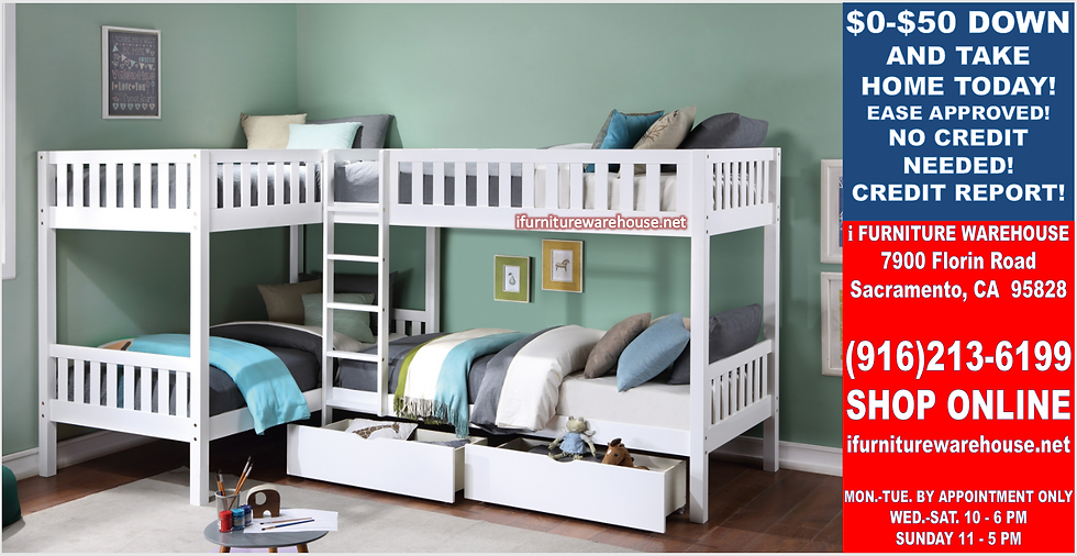 IN STOCK NEW_4 TWIN BED, WHITE CORNER BUNK BED WITH DRAWERS ALL