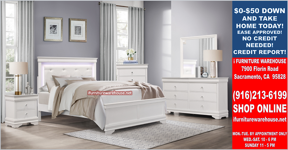 IN STOCK 4PCS WHITE LED HEAD CAL KING BED, DRESSER, MIRROR, NIGHTSTAND